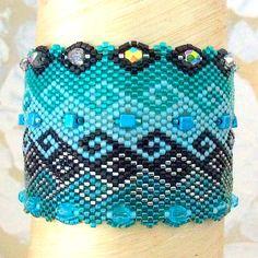 Bracelet Ketiko manchette bleu et vert, collection PEPLUM : Bracelet par ketiko