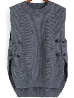 SheIn offers Grey Round Neck B… Shop Grey Round Neck Buttons Knit Sweater online. SheIn offers Grey Round Neck Buttons Knit Sweater & more to fit your fashionable needs. Knit Fashion, Womens Fashion, Sweater Fashion, Knit Vest, Knit Cowl, Crochet Clothes, Refashion, Pulls, Knitting Patterns