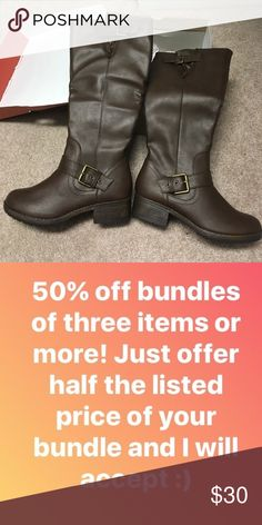 50% off Bundles! NIB So Riding Boots Size 6 New So  Shoes Heeled Boots