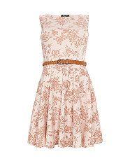 Cream (Cream) Te Amo Cream Floral Flocked Skater Dress