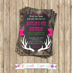 Camo Girl Hunting 3 Birthday Party  PRINTABLE by CupcakeExpress realtree camouflage  deer