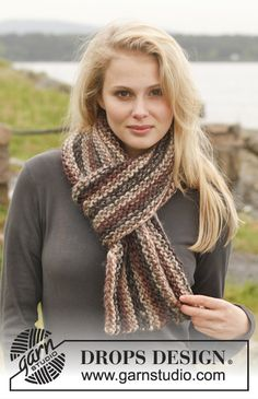 "Knitted DROPS scarf in garter st in ""Eskimo"". ~ DROPS Design"