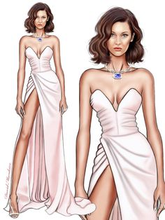 Bella Hadid in Alexandre Vauthier at #cannes2017 #digitaldrawing by David Mandeiro Illustrations