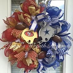 Custom Order House Divided San Fransisco 49ers/ Dallas Cowboys Football Wreath by Jayne's Wreath Designs on fb and Instagram