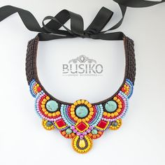 African jewelry for women Bead embroidered bib necklaces Fashion multicolor tribal accessory Colorful beaded collar necklace mexican style by BusikoUA on Etsy