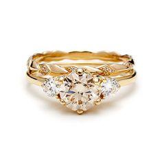 classic, unique, engagement, nyc, designer, yellow gold, ceremonial, champagne diamonds, white diamonds, rose gold, unique engagement rings, rings, wedding.