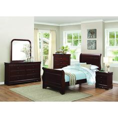 The ever popular Louis Philippe style is updated with functional accoutrements in the Abbeville collection. The sleigh bed furthers the timeless look of this adult collection, as well as youth. Okume veneers are elegantly highlighted with a traditional brown cherry finish.