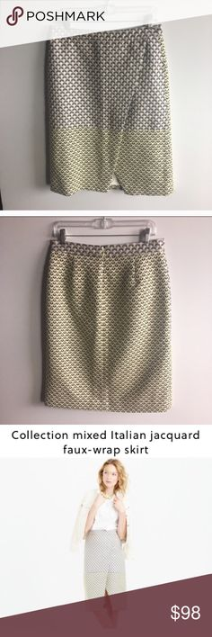 Collection mixed Italian jacquard faux-wrap skirt This gorgeous J Crew Collection skirt is so unique and stunning! Shiny almost metallic white, black and yellow jacquard fabric with a floral design. Zipper up the back. Faux wrap look. Excellent condition. Waist is 31.5 length 27 J. Crew Skirts Pencil