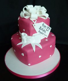 I kinda like this colour – its a grown up version of pink.   two tier hearts birthday cake with bows