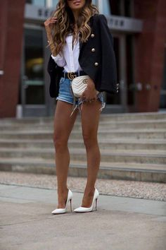 14 MAY, 2018 Spring Basics To Go From Work To The Weekend - Outfit Details: Lioness Black Blazer Equipment Silk Blouse Frame Denim Shorts Gucci Double G Belt Gucci Marmont Mini Bag Celine Sunglasses… Short Outfits, Sexy Outfits, Spring Outfits, Casual Outfits, Cute Outfits, Fashion Outfits, Gucci Outfits, Fashionable Outfits, Fashion Clothes