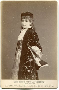 """Cabinet photograph of Jessie Bond as Melissa in the original DOC production of  """"Princess Ida"""" in 1884. Photo by Elliott & Fry."""