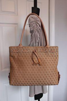 Dooney & Bourke Beige Signature Tassel Shopper Tote Shoulder Handbag Purse  #DooneyBourke #TotesShoppers