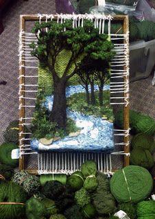 Dimensional Weaving - Martina Celerin fiber art: Peach Pie on the Banks of the Blue River Weaving Wall Hanging, Weaving Art, Tapestry Weaving, Loom Weaving, Textile Fiber Art, Textile Artists, Moss Art, Wet Felting, Needle Felting