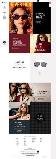Sunglass Hut Desktop Home Page Desktop, Sunglass Hut, Ecommerce, Eyewear, Lenses, Sunglasses, Gallery, Color, Design