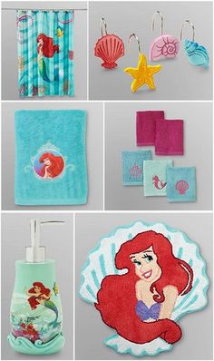 Genial 21pc DISNEY LITTLE MERMAID Shower Curtain + Bath Accessory Set HOOKS TOWELS  RUG