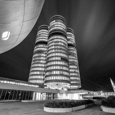 BMW Headquarters (Vierzylinder) and Museum in Munich, Germany. Photography by Gianluca Lastoria on 500px.  #bmw #bmwmuseum #museum #bavaria #bayern #germany #automotiveindustry #cars #motorcycles #bikes #munich #münchen #nikon #nikond3s #architecture #blackandwhite #building #cloud #headquarters #light #longexposure #night #sky #skyscraper #augsburg #stuttgart