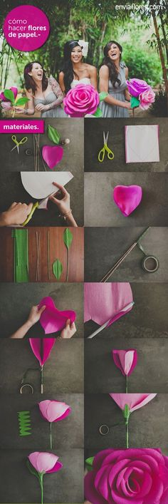 How to make paper flowers. Perfect without the stem to decorate the walls for spring.