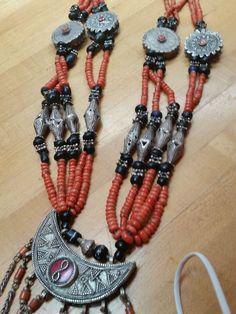 Antique c1920 UZBEK Coin Silver Tribal Coral Wedding Necklace Amazing   eBay