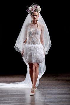 Short or sparkling, dresses now reflect brides' differing tastes.