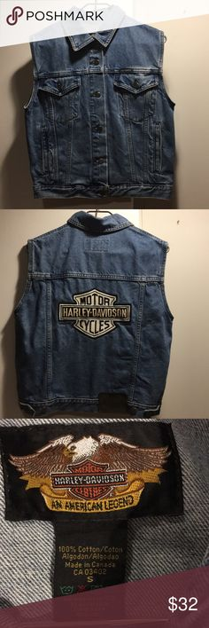 "Harley Davidson Denim Vest NOTHIN screams ""cool"" like a Harley vest! Even if you're not a biker chick, this vest is so cool!! 100% authentic Harley Wear. Wear with a shirt or not!! Unleash that biker babe!! Harley-Davidson Jackets & Coats Vests"