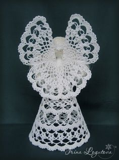 "Photo from album ""Вязаные игрушки"" on Yandex. Crochet Angel Pattern, Vintage Crochet Patterns, Crochet Angels, Crochet Christmas Ornaments, Holiday Crochet, Christmas Crafts, Beaded Ornament Covers, Beaded Ornaments, Christmas Angel Decorations"
