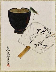 Bowl, Fan and Grasshopper. Shibata Zeshin. Japanese painting. Nineteenth century. Tokyo National Museum. 漆絵画帖_茶碗・団扇・虫 作者: 柴田是真 時代: 明治時代