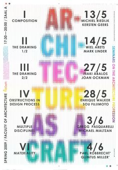 Karel Martens – Architecture as a Craft poster Typo Poster, Typographic Poster, Graphic Design Posters, Graphic Design Illustration, Karel Martens, Posters Conception Graphique, Text Types, Visual Aesthetics, Behance