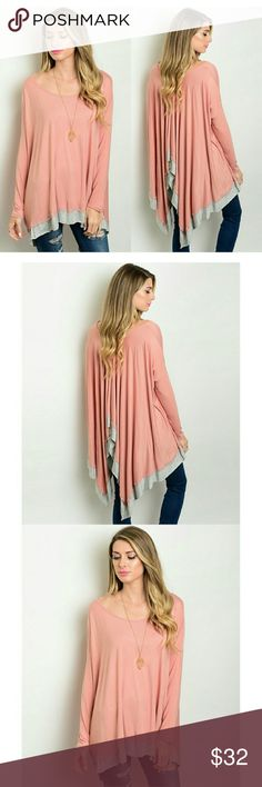 "Dusty Rose Boho top Loose flowy boho batwing style dusty Rose top.  95% rayon 5% spandex Flat measurements  Small: length 26-39"" bust 30"" (60"") arm 21"" Medium: 27-39"" bust 31"" (62"") arm 22"" Large: 27.5- 41"" bust 32"" (64"")  arm 22.5"" boutique  Tops"