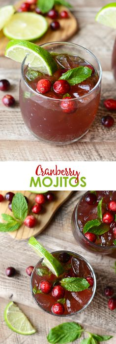 Get festive this winter and make these delicious and refreshing Cranberry Mojitos! They're made with all the classic mint mojito flavors with a splash of cranberry juice.