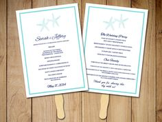 "Beach Wedding Program Fan Template - Ceremony Program ""Lazy Starfish"" Navy Turquoise Instant Download Printable - DIY Wedding Program by PaintTheDayDesigns on Etsy"