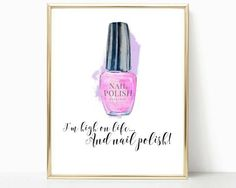 nail polish print, bathroom print, bedroom decor, salon room, makeup print, beauty print, wall art, makeup quote, vanity decor, prints