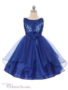 Shining navy blue organza sequins handmade flower A-line cute girls dress - occasion dresses by Sweetheartgirls Gold Prom Dresses, Purple Bridesmaid Dresses, Prom Dresses For Sale, Blue Dresses, Wedding Dresses, Long Dresses, Cheap Flower Girl Dresses, Cute Girl Dresses, Girl Outfits