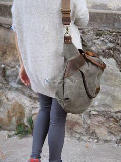 Large Capacity Shoulder Bag Leather Canvas Bag (5)