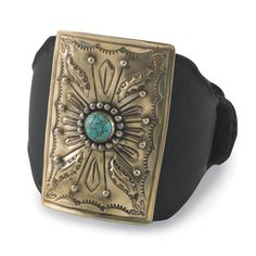 """One more way to love leather: as a bracelet! Turquoise-studded, nickel silver concho on black leather wrist wrap with buckle. 2½"""" w concho; strap adjustable to 9"""" l."""