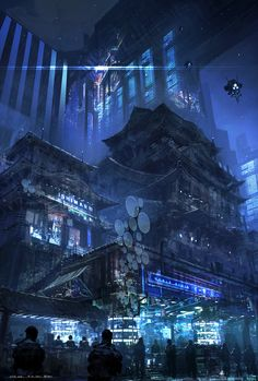 cyberpunk atmosphere in a futuristic city (concapt art by Feng Zhu) Cyberpunk City, Arte Cyberpunk, Futuristic City, Environment Concept, Environment Design, Fantasy World, Fantasy Art, Illustration Fantasy, Science Fiction Kunst