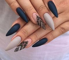 Cute neutral and black nails