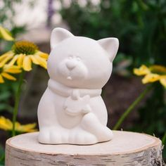 """Cute Kitty With Fish Collar 3.1"""" Ready to Paint Ceramic Bisque"""