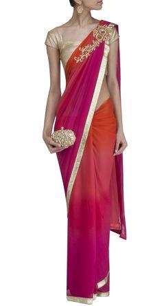Purple and orange ombre saree