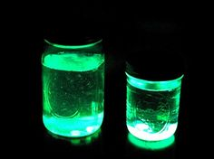 My kids were excited to have these in their rooms the other night when they went to bed. Simply fill a small jar with water and then cut open a full size glow stick and pour it in! Don't wast…