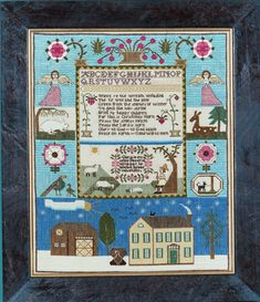 Christmas Sampler - This isn't a reproduction but the colors are based on the unfaded colors of antique samplers as well as the layout and the verse is an old hymn.