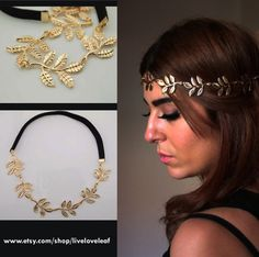 SALE Gold Leaf headband Greek leaf with black by LiveLoveLeaf, $15.00