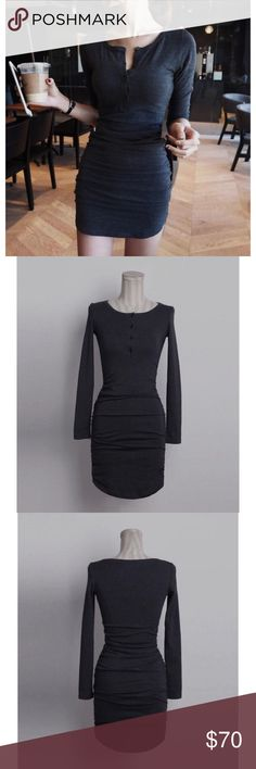 Dark Grey Long-Sleeve Bodycon Dress **Price Drops After Several Likes** 100% Chenille. Length 80-88cm, Bust 72cm, Waist 58cm. Dresses Long Sleeve