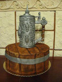 from: Torty pszczółki: Tutoriale  Gorgeous old world style pewter mug cake!
