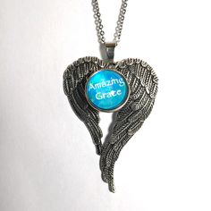 """N-146 Single Snap Pendant with 20mm Amazing Grace Snap and  20"""" Stainless Steel…"""