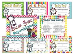 $4.00These end of the year awards are great! Give each student a special little dollar store treat that matches their personality or strength this year.  You can use these awards with or without the gift. They come in color and black and white.