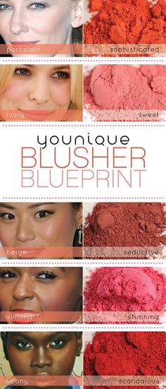 "Not sure which Moodstruck Blusher shade is best for your skin tone? Check out our handy ""Younique Blusher Blueprint"" to find the perfect hue for you! Contact me for more info.  Click the pic for yours"