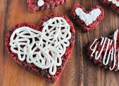 Red Velvet Rice Krispies Treats Hearts for Valentine's Day