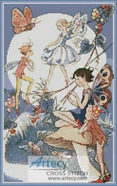 dc879b37806 Moonrise in Fairyland - Cross Stitch Chart   Artecy Cross Stitch Shop