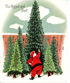 Vintage Norcross Greeting Card Santa Picking out a Christmas Tree 3051
