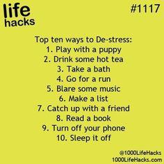 10 Top Ways To De- Stress